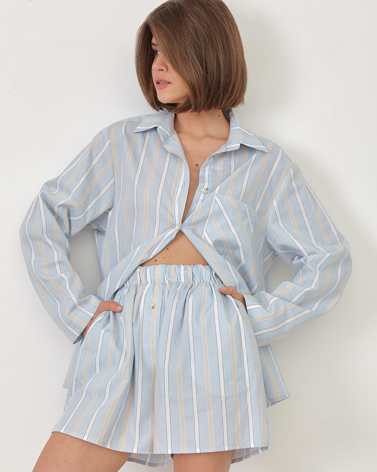 Комплект: рубашка с шортами в голубую полоску фото