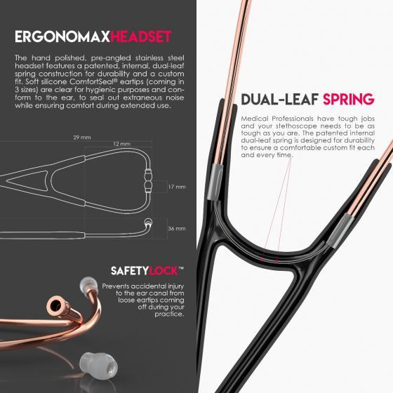Кардиологический стетоскоп Classic Cardiology Dual Head (черный/розовое золото)