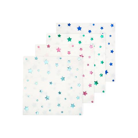 Салфетки со звёздами, металлик