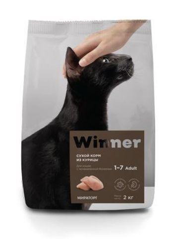 WINNER Корм сухой полнорационный для кошек с Мочекаменной болезни из курицы 2 кг.