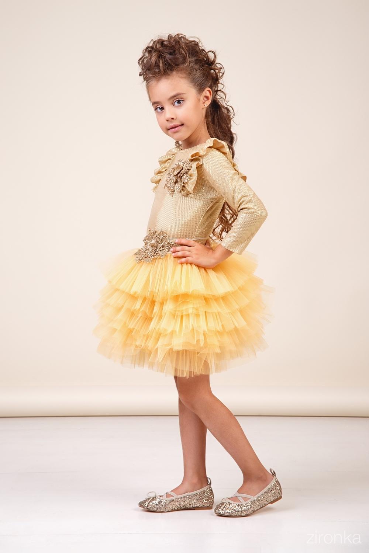 Комплект (блузка, юбка) золотистый для девочки 64-8040-1