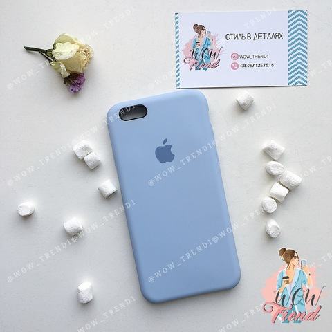 Чехол iPhone 6/6s Silicone Case /lilac cream/ голубой original quality