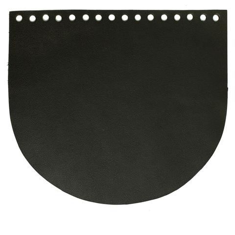 Клапан для сумочки кожаный черный 19 на 16 см.