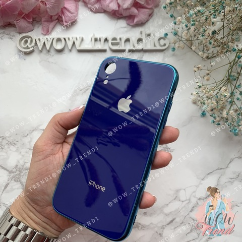 Чехол iPhone XR Glass Case Logo /blue/