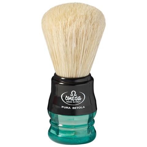 Помазок для бритья Omega натуральный кабан, зеленая ручка 10777