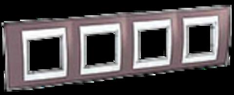 Рамка на 4 поста. Цвет Лиловый/Белый. Schneider electric Unica Хамелеон. MGU6.008.876