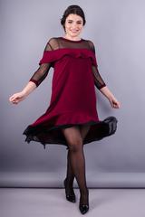 Лика. Красивое женское платье плюс сайз. Бордо.