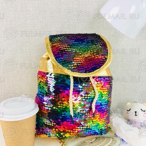 Рюкзак-мешок золотистый с пайетками меняет цвет Радужный-Серебристый Мини