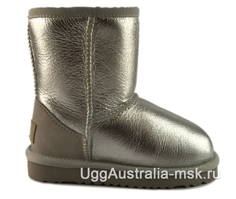 UGG Kids Classic Short Glitter Silver