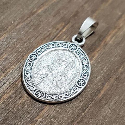 Нательная именная икона святая Людмила с серебрением кулон медальон с молитвой