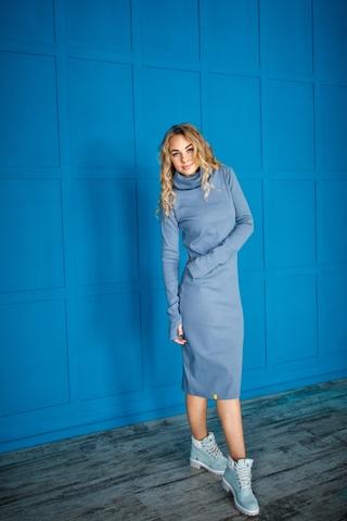 Платье свободного кроя серо-голубое