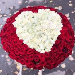 301 белая и красная роза в виде сердца