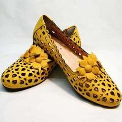 Женские кожаные туфли на низком каблуке летние Phany 103-28 Yellow.