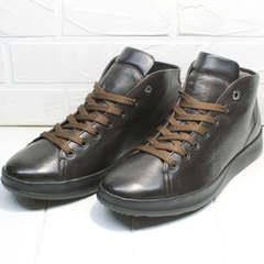 Демисезонные ботинки кожаные высокие кеды мужские Ikoc 1770-5 B-Brown.