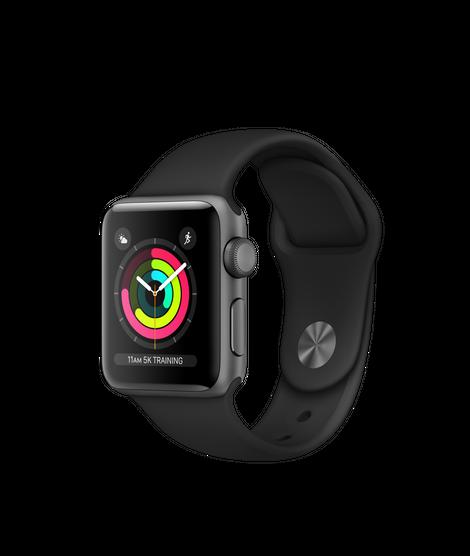 Apple Watch Series 3 GPS, корпус 38 мм, алюминий цвета «серый космос», спортивный ремешок чёрного цвета