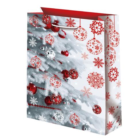 Новогодний подарочный пакет Белая елочка (большой)