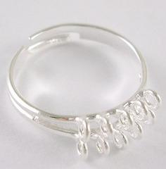 Основа для кольца с петельками (10 петелек) (цвет - серебро)