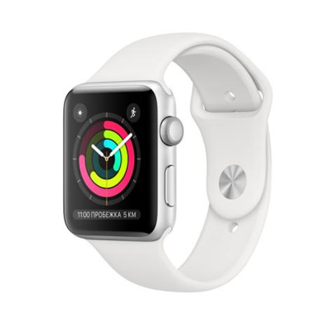 Умные часы Apple Watch Series 3 GPS, 42mm, корпус из серебристого алюминия, спортивный ремешок белого цвета
