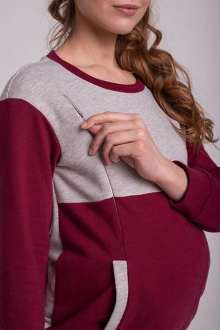 Свитшот для беременных и кормящих цвет бордо+беж