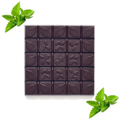 Шоколад горький, 72% какао, на меду, с мятой