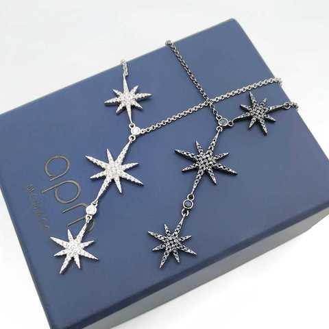 Колье Meteorites Noir из серебра с тремя звездочками