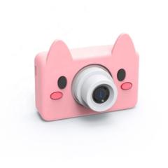 Фотоаппарат детский SmileZoom 24 Мп с чехлом с ушками / Свинка