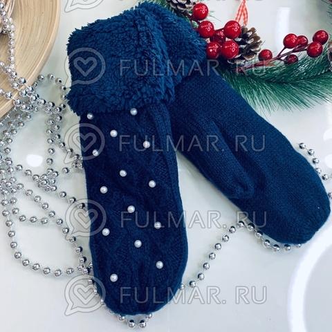 Варежки шерстяные вязаные Бусинки (цвет: тёмный синий)