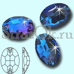 Стразы пришивные стеклянные Oval Sapphire, Овал Сапфир, ярко-синий на StrazOK.ru
