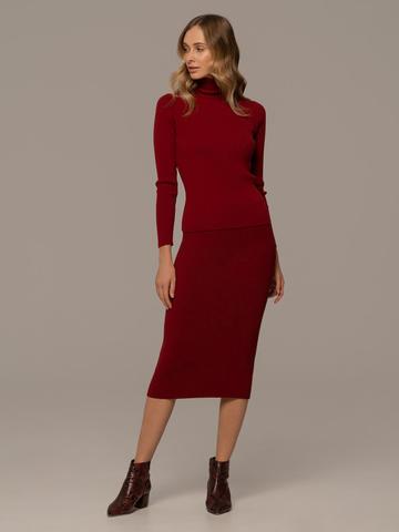 Женская юбка красного цвета из шерсти - фото 2