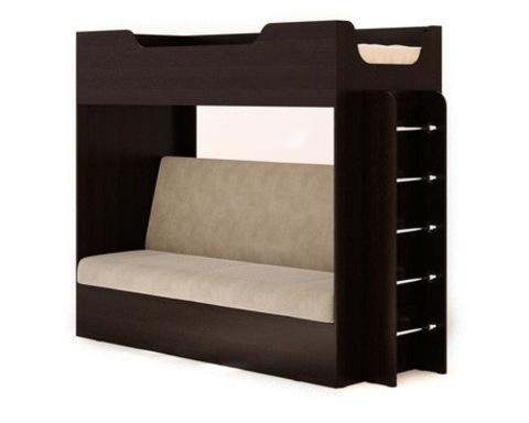 Кровать двухъярусная КР-11 с диваном венге