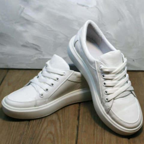 Белые кожаные кеды кроссовки женские Maria Sonet.