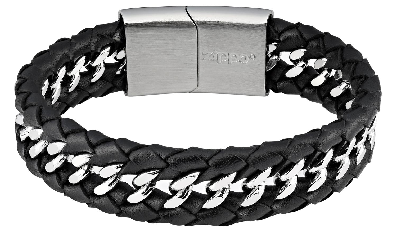 Мужской браслет из стали и кожи Zippo 2006240