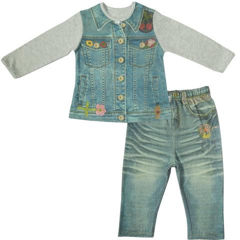 Папитто. Комплект кофточка и штанишки с вышивкой для девочки FASHION JEANS вид 1