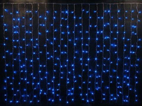 Гирлянда светодиодный занавес 2*1,5, с контроллером, цвет Синий, провод прозрачный