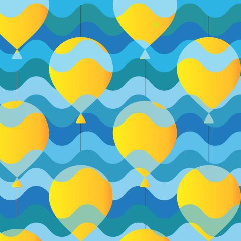 Желтые воздушные шарики в потоках воздуха