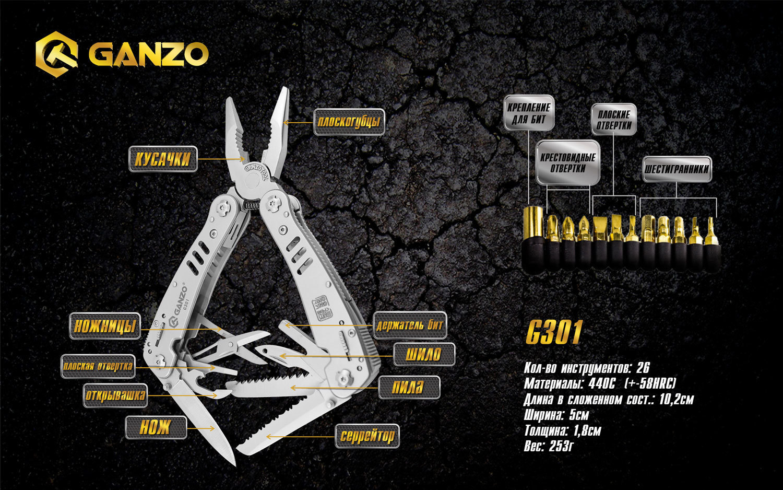Мультитул Ganzo G301, 105 мм, 26 функций, нейлоновый чехол