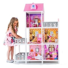 PAREMO Трехэтажный кукольный дом (5 комнат, 2 куклы) (PPCD116-04)