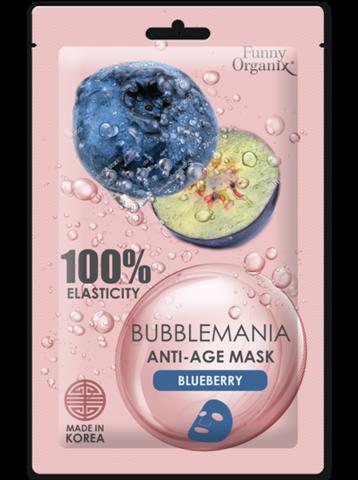 Funny Organix BubbleMania Кислородная тканевая антивозрастная маска Дикая черника 25г