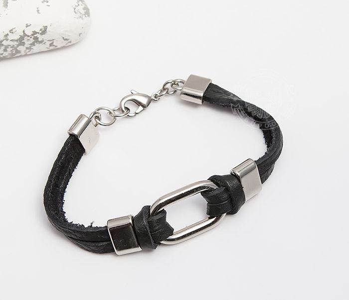 Фото - Spikes, Мужской браслет Spikes из черной кожи со сталью мужской браслет из кожи со стальной проволокой 20 см