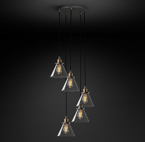 Подвесной светильник копия 20th C. Factory Filament Clear Glass Funnel Round  Pendant by Restoration Hardware