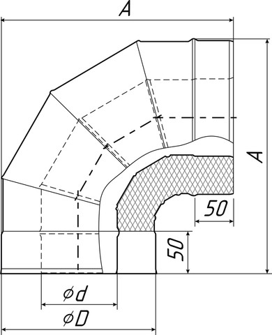 Отвод-сэндвич 90° «Супер», Ø150/250 мм, 0,8/0,5 мм, нерж/оц