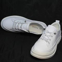Кожаные кроссовки туфли женские на низком ходу El Passo sy9002-2 Sport White.