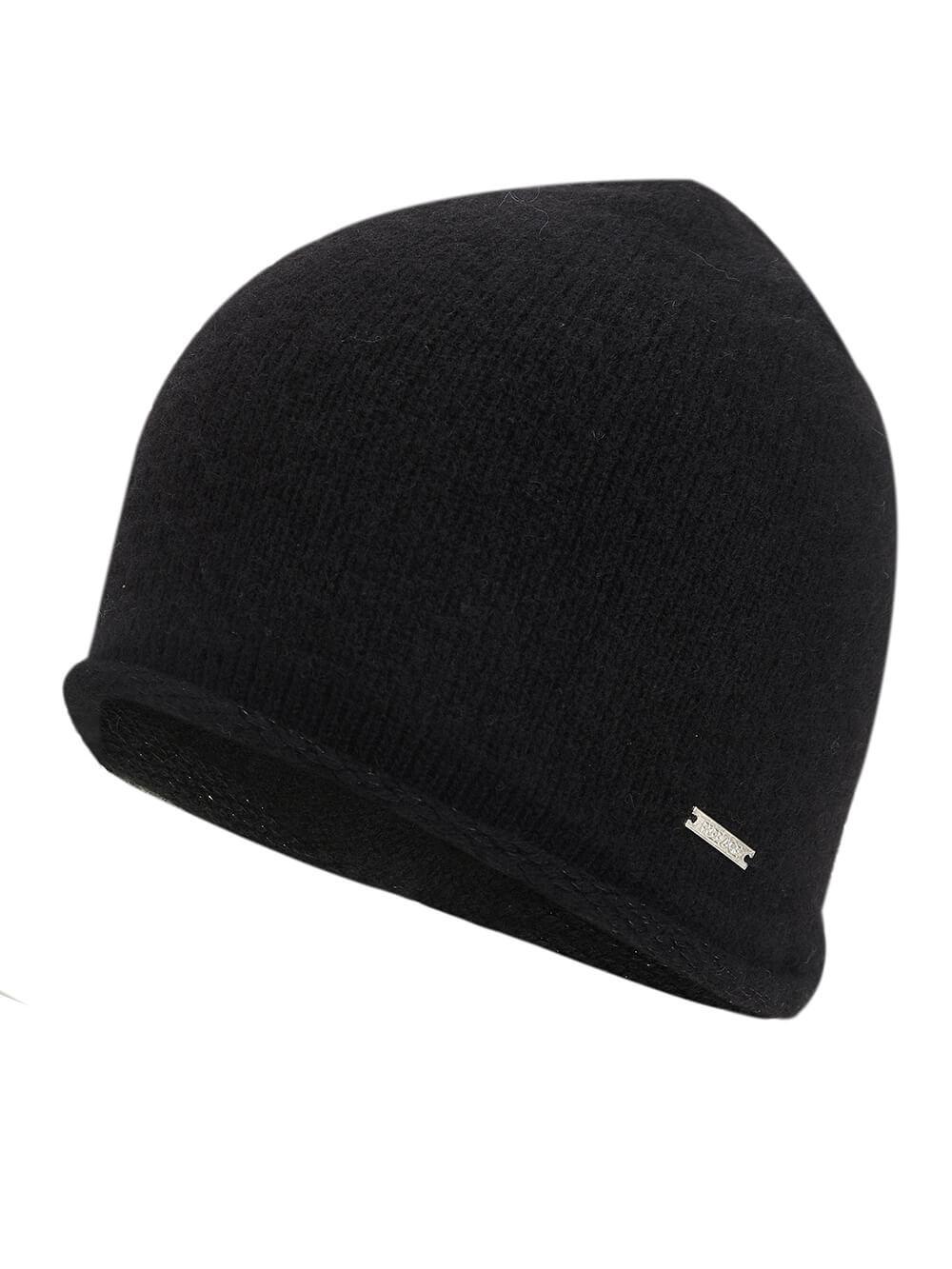 Женская черная шапка из 100% кашемира - фото 1