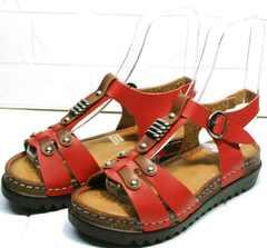 Красные сандали босоножки на высокой подошве Rifellini Rovigo 375-1161 Rad.