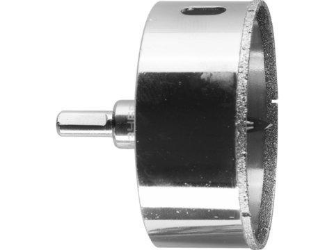 Коронка алмазная по кафелю и стеклу, d=80 мм, зерно Р 60, в сборе с центрирующим сверлом и имбусовым ключом, ЗУБР Профессионал 29850-80