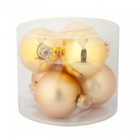 Набор шаров 6шт. в тубе (стекло), D8см, цветовая гамма: золотые