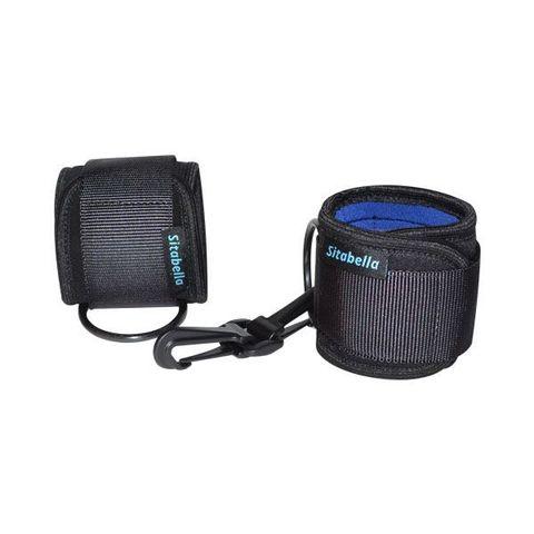 Чёрно-синие неопреновые наручники на липучках