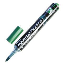 Маркер для досок Pentel Maxiflo Flex-Feel гибкий након., зелёный, 1.0-5.0мм