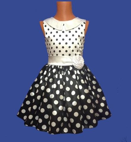 Платье в черно-белый горох комбинированное
