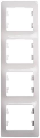 Рамка на 4 поста, вертикальная. Цвет Белый. Schneider Electric Glossa. GSL000108